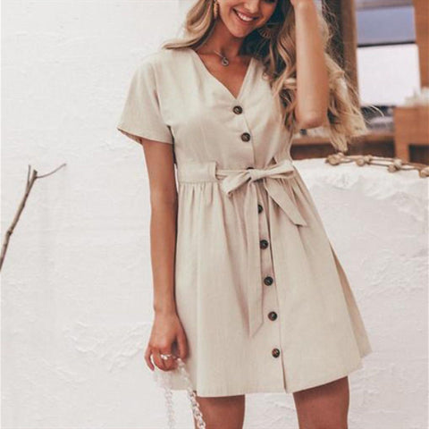 Fashion Vintage Inspired Style Button Up Dress