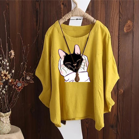 Cat Printed Irregular Fashion Solid Short Sleeved Vintage Blouse