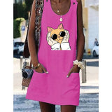Garfield Cat Women Dresses Shift Cotton-Blend Dresses