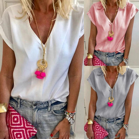 Casual Elegant V Neck Plain Blouses