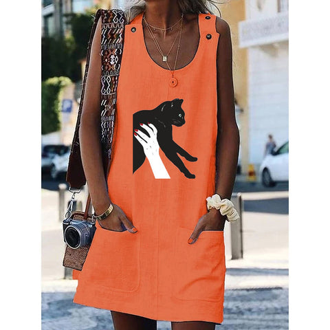 Cat Hug Women Dresses Shift Cotton-Blend Dresses