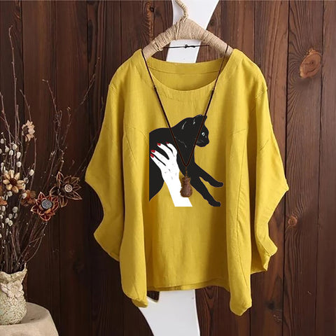 Cat Hug Irregular Fashion Solid Short Sleeved Vintage Blouse