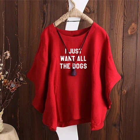 I Just Want All The Dogs Irregular Fashion Solid Short Sleeved Vintage Blouse