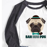 Bah Hum Pug Women's Printed Christmas Holiday Autumn Sweatshirts