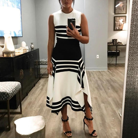 Round Neck Striped Sleeveless Dress