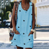 Crew Neck Shift Daily Casual Printed Sleeveless Dresses