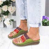 Plus Size Summer Women Chic Three-color Stitching Sandals