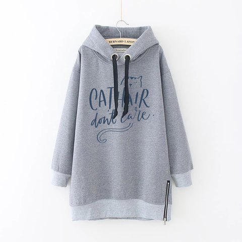 Cat Plus Size Drawstring Long Sleeve Casual Hoodie