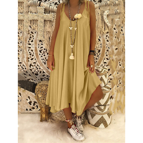 New Solid Summer  Women Sling Dress