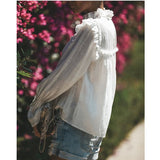 Casual Pure Color Long Sleeve Chiffon Blouses