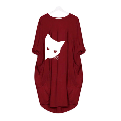 Peeking Cat Casual Loose Women's Plus Size Autumn Dress