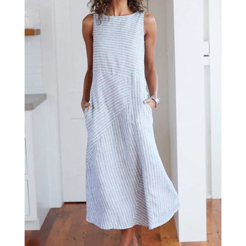 Cotton Striped Dresses Crew Neck Plus Size  Women Dresses Shift Daily Dress