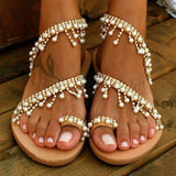Women Bohemian Sandals Casual Pearls Shoes