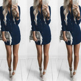Folds Long Sleeve Sexy Polyester Casual Dress