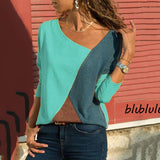 Color Block Patchwork V-neck Blouse