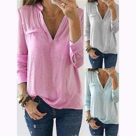 Casual V Neck Plain Blouses