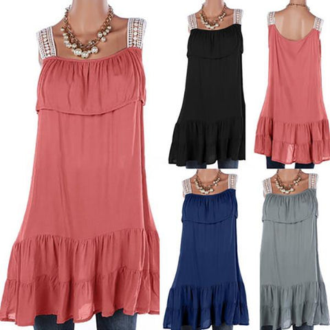 Casual Sleeveless Ruffle Side Mini Dresses