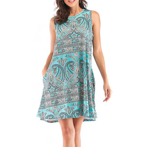 Casual Loose Printing Sleeveless Dress