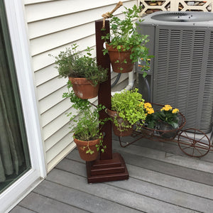 All Mahogany  4 Pot Tower