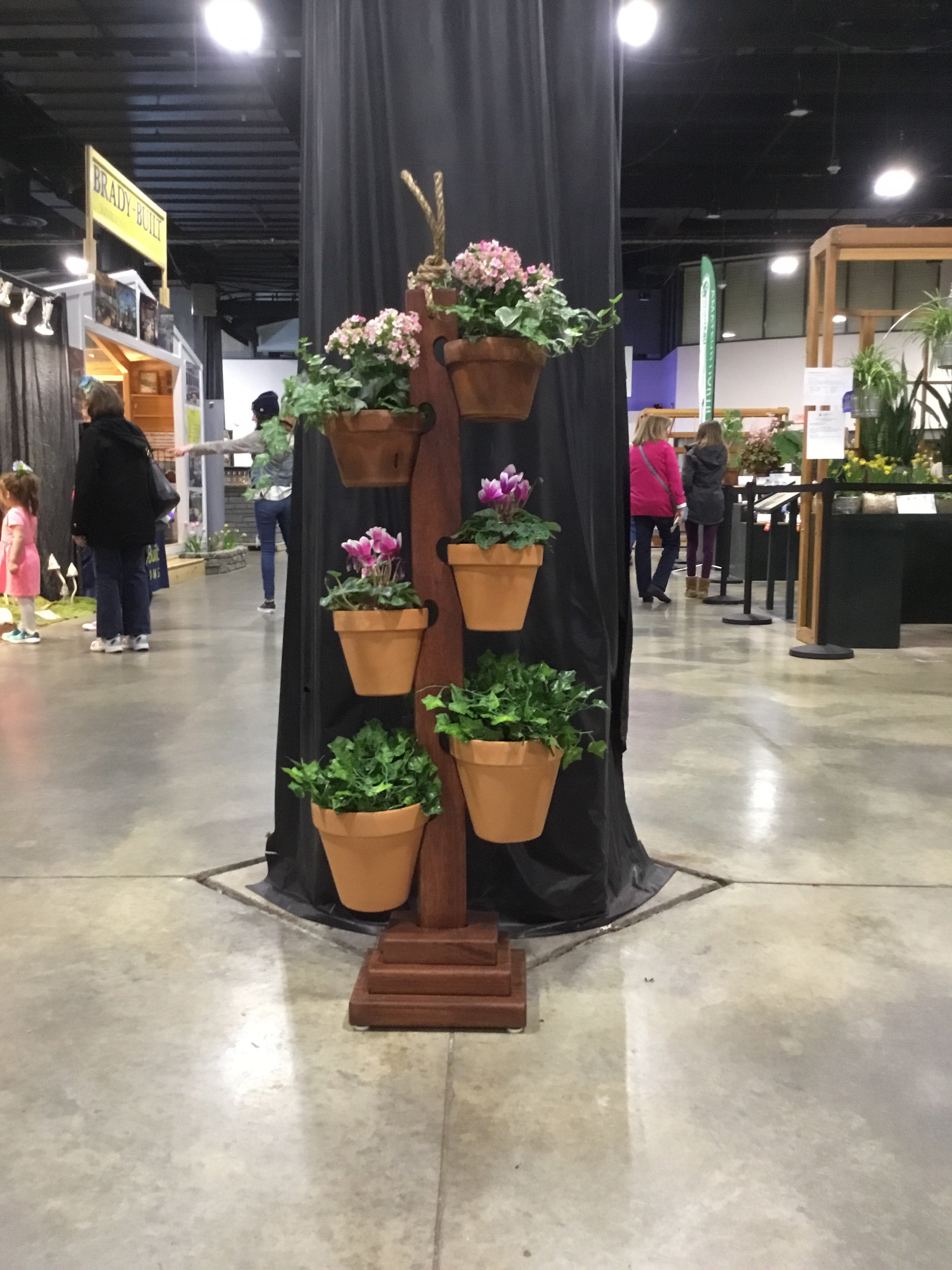 6 Pot Mahogany Tower at the Boston Flower Show