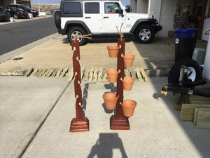 6 Pot Mahogany Towers  with a variety of different size clay pots