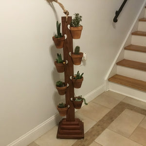 8 Pot Tower in Dark Walnut