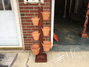 "6 Pot Mahogany Tower  w/ 2 of the 8"" and 4 of the 6.5"" Terra Cotta Clay Pots"