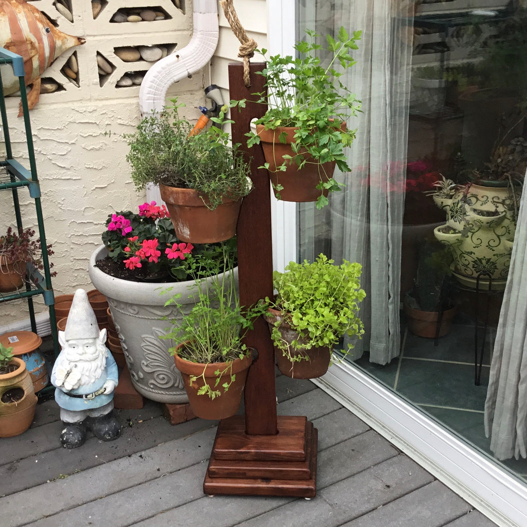 4 Pot PT Pine / Mahogany Tower