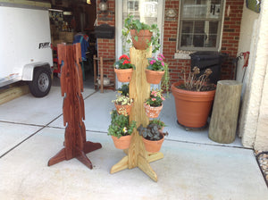 13 Pot 4 Way Tower  in Red Oak & Natural