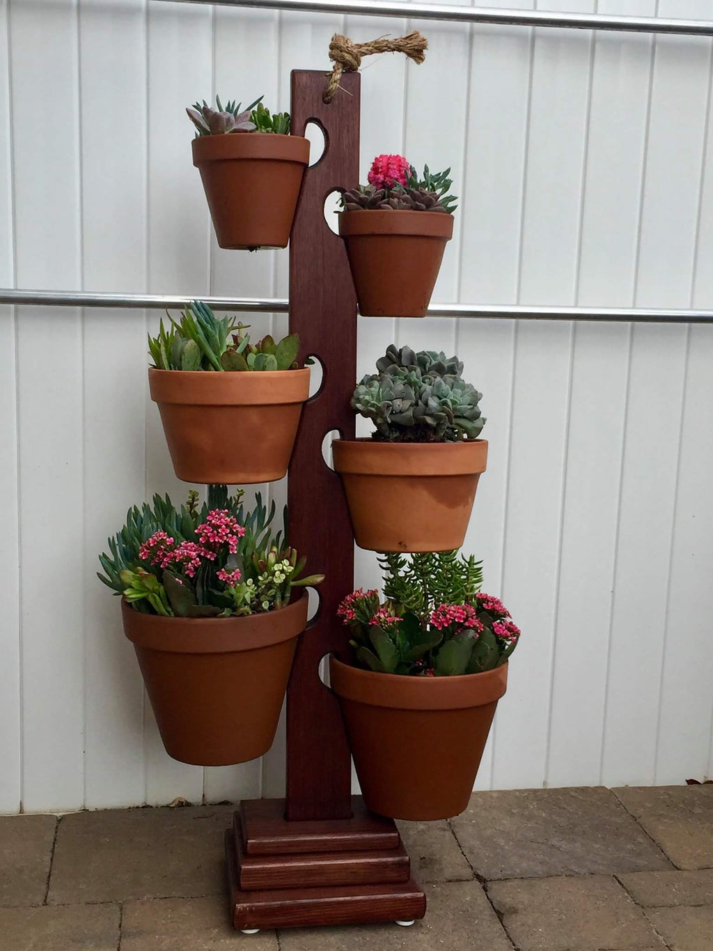 6 Pot Mahogany Tower from Long Beach Ca. Beautifully displayed with succulents