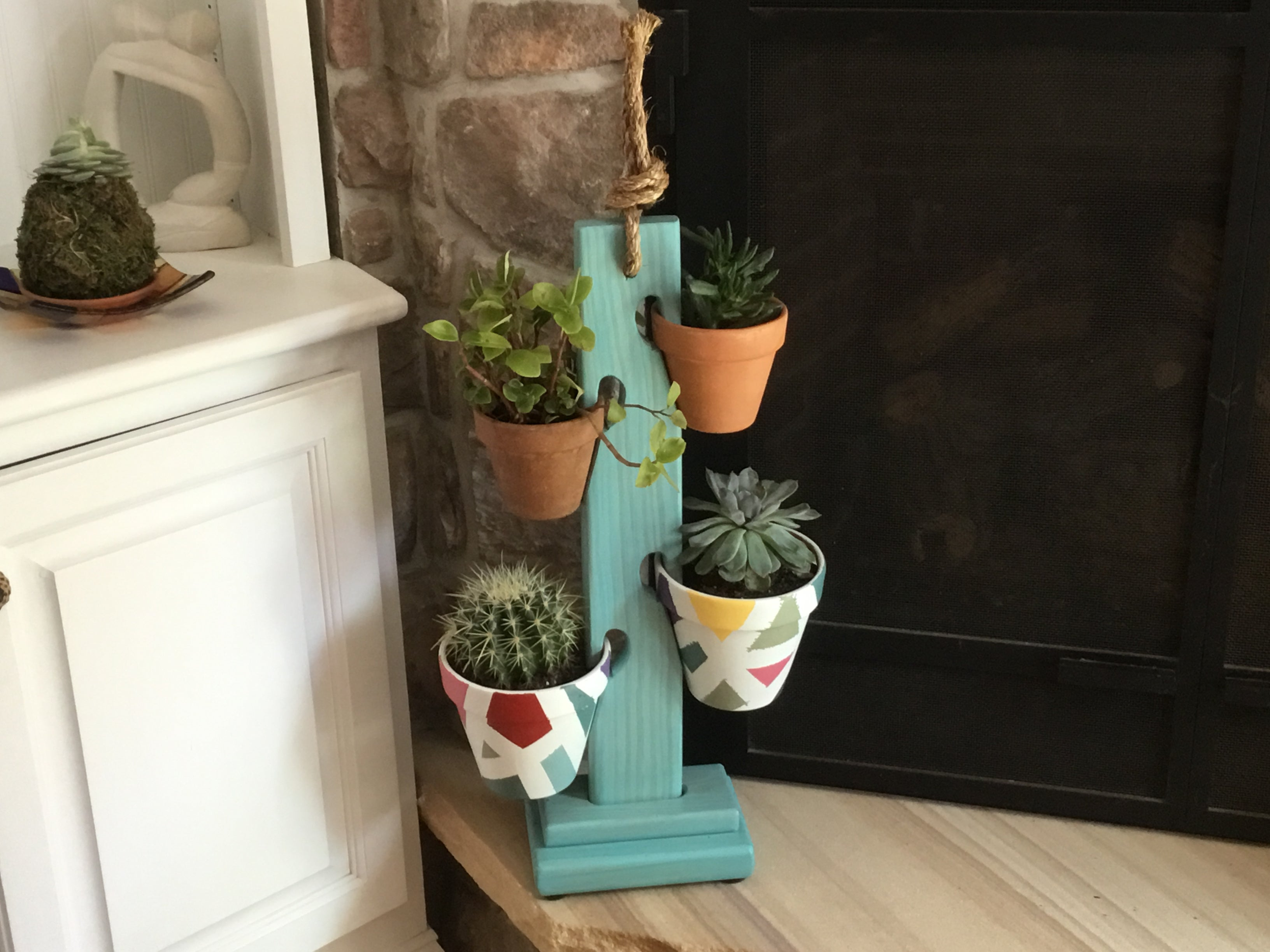 4 Pot Tower In Vintage Aqua
