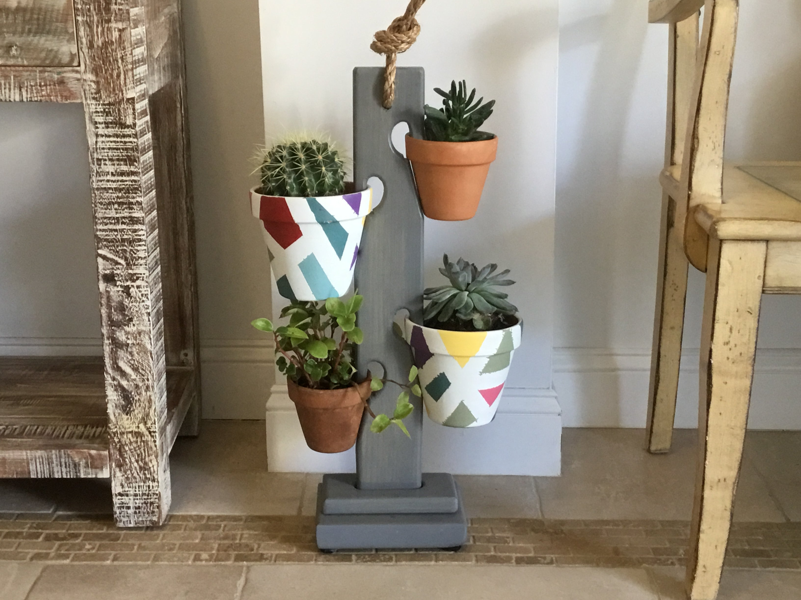 Weathered Gray 4 Pot Tower
