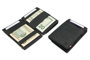 Garzini RFID Leather Magic Coin Wallet Brushed-Black
