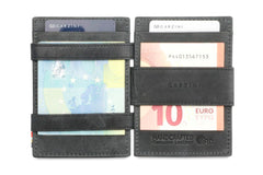 Garzini RFID Leather Magic Coin Wallet Brushed - Black - 6