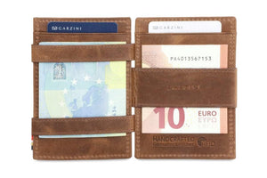 Garzini RFID Leather Magic Coin Wallet Brushed-Brown