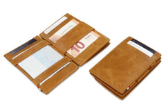 Garzini RFID Leather Magic Coin Wallet Brushed - Cognac - 4