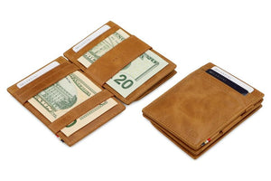 Garzini RFID Leather Magic Coin Wallet Brushed-Cognac