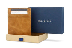 Garzini RFID Leather Magic Coin Wallet Brushed - Cognac - 9