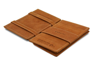 Garzini RFID Leather Magic Coin Wallet Vintage-Cognac