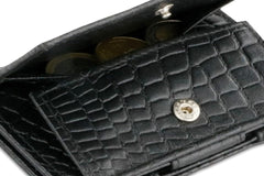 Garzini RFID Leather Magic Coin Wallet Croco - Black - 5