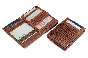 Garzini RFID Leather Magic Coin Wallet Croco-Brown