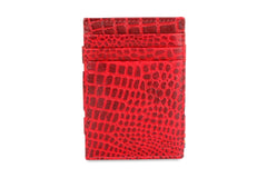 Garzini RFID Leather Magic Coin Wallet Croco - Red - 2