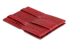 Garzini RFID Leather Magic Coin Wallet Croco - Red - 3