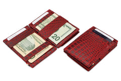 Garzini RFID Leather Magic Coin Wallet Croco - Red - 5