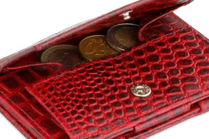 Garzini RFID Leather Magic Coin Wallet Croco-Red