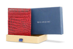 Garzini RFID Leather Magic Coin Wallet Croco - Red - 9