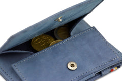 Garzini RFID Leather Magic Coin Wallet - Blue