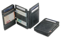 Garzini RFID Leather Magic Coin Wallet Plus Brushed - Black - 6