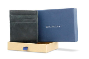 Garzini RFID Leather Magic Coin Wallet Plus Brushed-Black