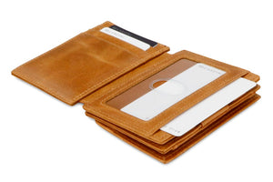 Garzini RFID Leather Magic Coin Wallet Plus Brushed-Cognac